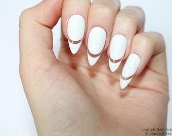 White cut out stiletto nails, White stiletto nails , White nails, Stiletto nails, Almond nails, Acrylic nails, Pointy nails, Fake nails