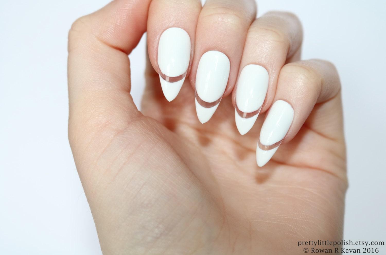 White cut out stiletto nails, White stiletto nails , White nails ...