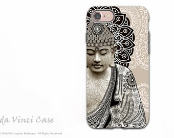Paisley Buddha iPhone 7 / iPhone 8 Tough Case - Zen Dual Layer Protective Cover for iPhone 7 / 8- Meditation Mehndi