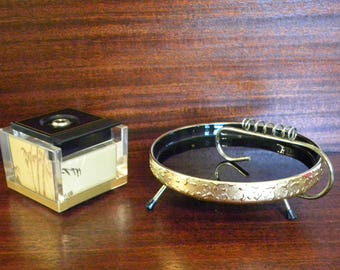 Vintage Japanese Mid Century 2 piece Lighter Ashtray Smoking Set Lucite Table lighter Crown Piezo- Black and weeping Gold Bamboo Design RARE