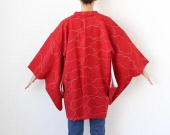 cloud kimono, haori, Japanese kimono, kimono top, red jacket /3289