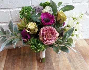 Custom Made Artificial Green and Purple Wedding Bouquet Featuring Roses, Sweet Peas, Ranunculus