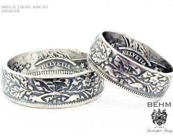 Coin Ring WEDDING SET - Silver Handcrafted Coin Ring - Swiss 1 & 2 Franc Set