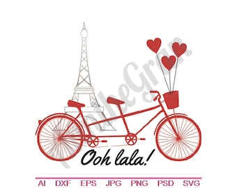 Paris Love Tandem Bicycle - Svg, Dxf, Eps, Png, Jpg, Vector Art, Clipart, Cut File, Ooh Lala SVG