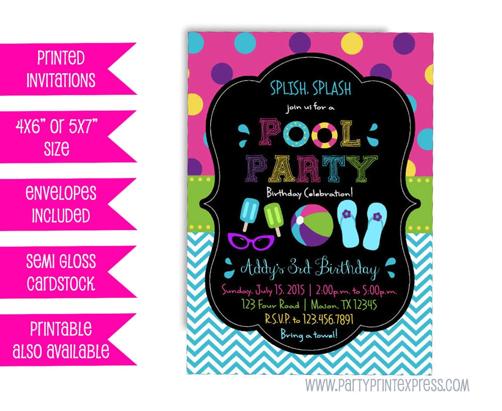 Neon Pool Party Invitation Girl Girls Pool Party Invitations