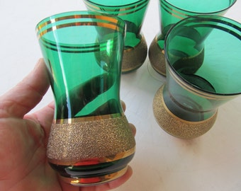 Vintage Set of 4 Forest Green Glass with Gold Gilding Tumblers
