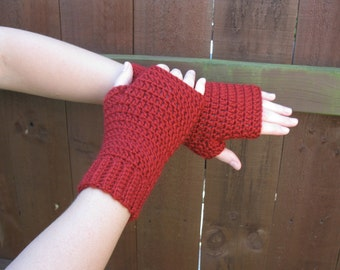 Red Riding Hood wrist warmers, handmade crochet || Small, Medium, Large || Made to Order