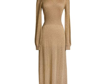 1970s Vintage Gold Shimmer Sweater Dress, Retro 70s Lurex Disco Metallic Cowl Neck Knit Maxi Evening Dress by Wenjilli X-Small Small