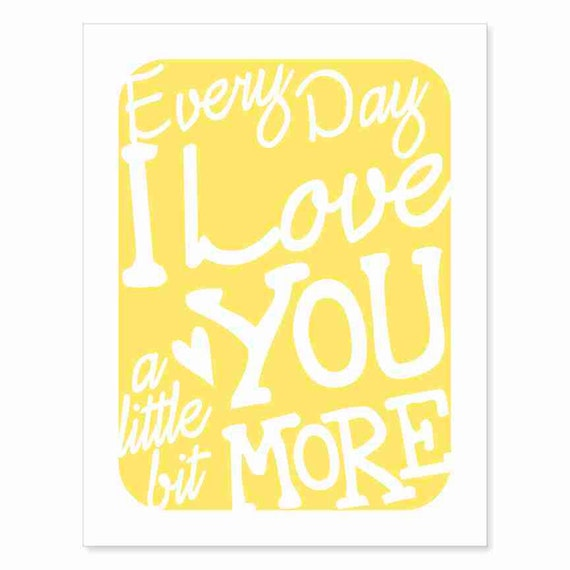 Typography Wall Art Every Day I Love You v4 love song