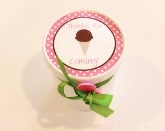 Printable Circle Tags for Favor Buckets- Ice Cream Shoppe Collection