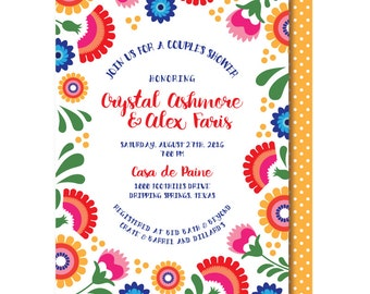 Mexican Shower Invitations, Folk Art, Mexican Invitation, Printable or Printed