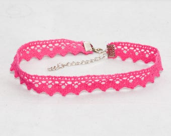 Choker Necklace Lace Pink Crocheted