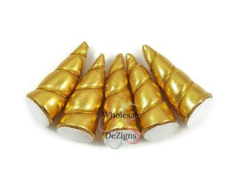 "2"" Gold Unicorn Horns Metallic Small Petite Padded Horn Wrapped with Gold Thread Appliques DIY Party Supplies Birthday Costume Supply"