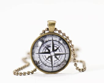 Compass Necklace, Enjoy the Journey, Gifts for Her, Navigation Jewelry, Gifts Under 20, Pendant Necklace, Gifts, Find Your Way, Nautical