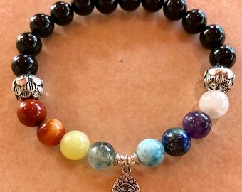 Chakra Balancing and Healing Bracelet with Sterling Silver Hamsa Hand/Evil Eye