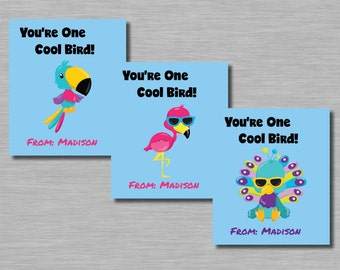Cool Tropical Bird Valentines, Printable, Customized Name included Sunglasses Flamingo, Parrot