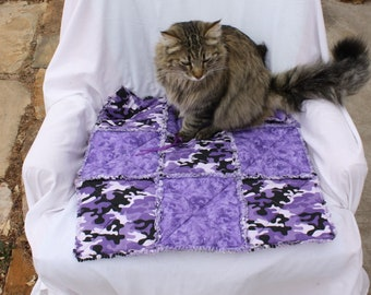 Cat Bed, Cat Blanket, Small Dog Blanket, Purple Camo Pet Bed, Pet Bedding, Pet Supplies, Colorado Catnip Bed, Cat Quilt, Beds for Pets