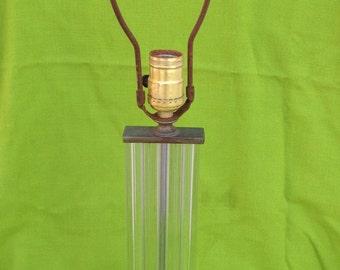 Art Deco Glass Rod Brass Flapper Style Boudoir Table Lamp