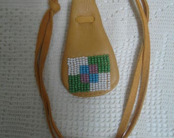Colorful beaded deerhide amulet pouch