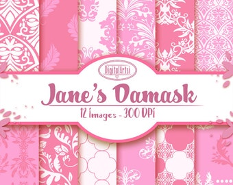 Hand Drawn Pink Damask Digital Paper - Damask Printable - Instant Download - Seamless Pink Damask Pattern