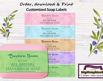 Customized Handmade Hand Soap Labels, Soap Wrappers for your Business - Choice of 5 Different Colors