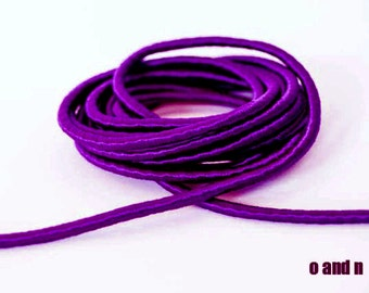 Wrapped silk cord, satin cord, mauve, 2 meters