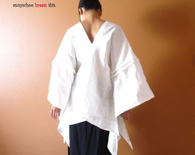 custom SWALLOW pure  linen top made to fit  pick your color / custom linen blouse / fairy sleeves / wide sleeve linen blouse