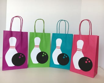 Bowling Party - Paper Goodie Bags - Favor Bags - Set of 12 bags