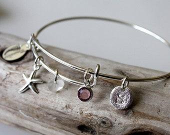 Sale 20% Rabais Sea glass bracelet, charm bracelet, bridesmaid bracelet, star fish bracelet, initial bracelet, customizable bracelet, births