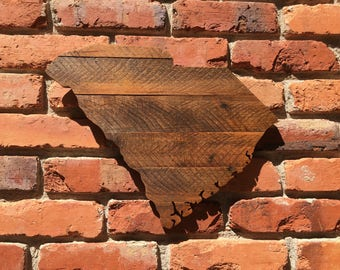 South Carolina SC state cutout outline pallet wood sign
