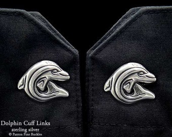 Dolphin Cuff Links Sterling Silver Ocean Cuff Links