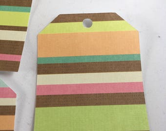 BrownStripes Tags - set of 14