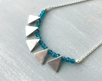 Necklace, Silver and teal geometric crystal necklace