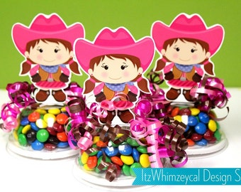 Pink Cowgirl Candy Favor Containers