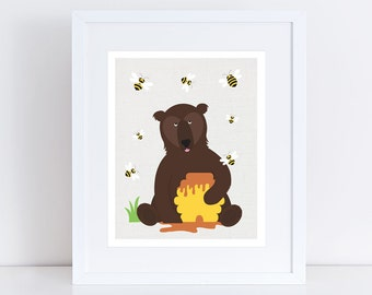 bear nursery art - brown bear and bees print, woodland animal art, children, kids room decor, baby girl or boy, honey illustration play room