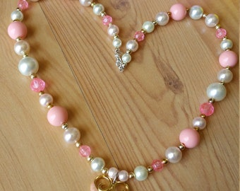 Pink Peach Heart Summer Dream Necklace