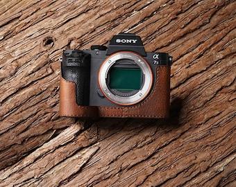 Ms Edition Genuine Leather Handmade hand crafted Sony A7R ii A7RM2 A7II MK2 A7Rii Camera Half cases insert bag Protector Tripod mount