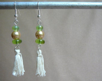 Beaded Tassel Earrings (Green and Gold, with Cream Tassel) - Perfect Christmas Gift, Stocking Stuffer, Holiday Gift for Her!