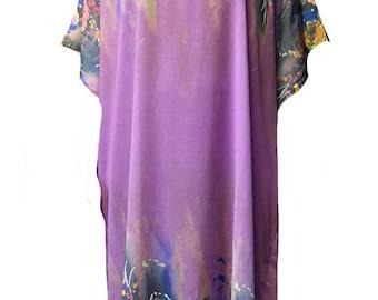 1753 Ladies 100% Polyester Woven See Through Chiffon Border Printed Long  Kaftan/Beach Dress