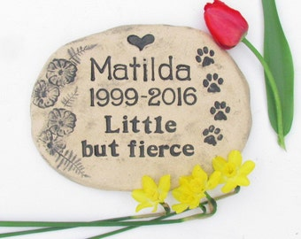 Pet Memorial stone, Pet Grave Marker, CUSTOM MADE memorial in your own words. Artisan quality ceramic plaque. Outdoor remembrance
