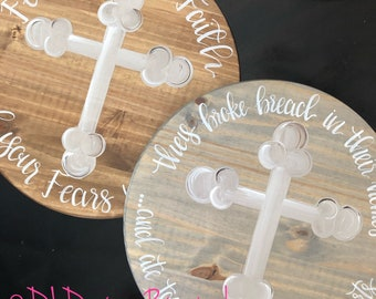Hand lettered lazy susan they broke bread acts 2  feed your faith with cross