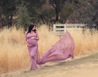 Maternity Dress for Photo Shoot-Maternity Gown-Long Maternity Gown-Maxi Gown-Baby Shower Dress-Short Sleeves Flowy Dress-CHANTAL DRESS