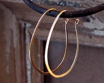 14 Kt Gold Filled Hoops.Oval Hoop Earrings.Hoop Earrings.Gold Hoop Earrings..Rose Gold.Hand Forged Jewelry.Handmade Hoop Earrings.Gold Hoops