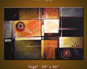 """Abstract Art Painting Original Large Modern Art Wall Decor... 24"""" x 36"""" ... black brown orange white ... Lost Voyage, by Amy Giacomelli"""