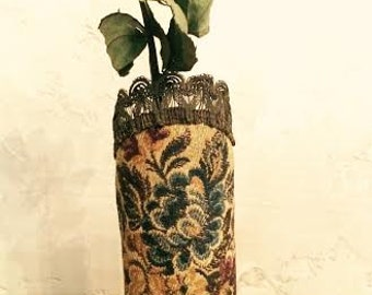 beautiful vintage tapestry doily vase