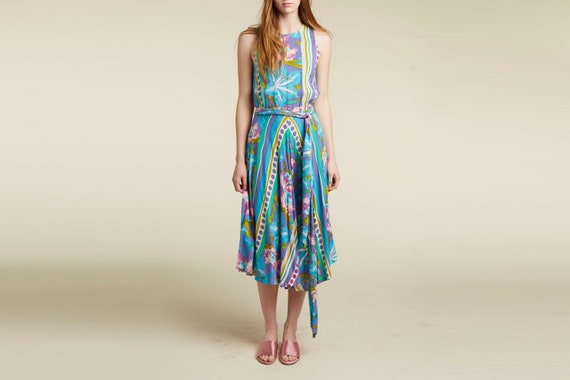 vintage 80s rayon tropical day dress