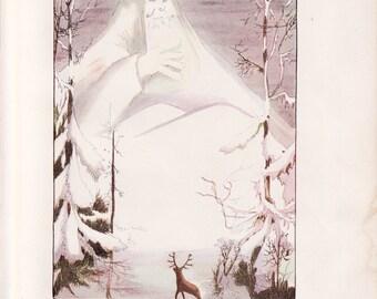 Antique Victorian Art Print-Book Plate-Lithograph-Fairies-Mid Winter Fairy Man-Artist Penny Ross-1914