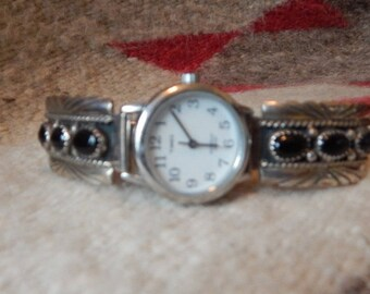 Onyx watch, sterling silver, estate, SOUTHWESTERN,  signed,  tribal  ethic womens, mens, vintage, tribal, New Mexico, gifts, horse