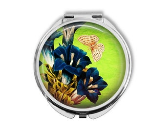 Gentiana Flowers Compact Mirror Pocket Mirror Large