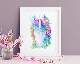 Rainbow Unicorn Wall Art Print - Watercolour Nursery Decor - Nursery Wall Art - Girls Room - Nursery Prints - Unicorn Prints - Unicorn Gifts